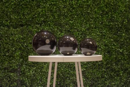 juego de 3 esferas de ceramica tachonadas